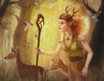 The Deer Herder by artsangel