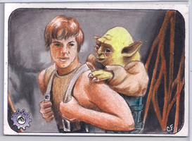 Luke and yoda dagobah PSC sketch card by chrisfurguson