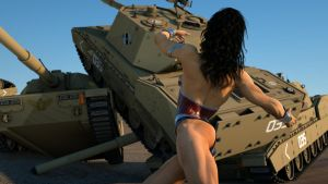 Wonder Woman sends a tank crashing into two others by DahriAlGhul