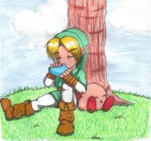 Link And Kirby R and R by Nukude