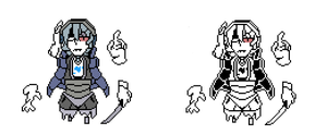 [SWAPFELL] Napstablook Battle sprites by RockmanThetis