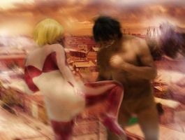 Eren and the female type titan by goblowyourself