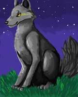 MS PAINT - *Wolf beneath the sky* by Samooraii