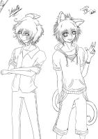 OC's: Liberta + Aruto Lineart by Violet-Eyed-Angel