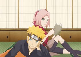 NaruSaku by windwillows