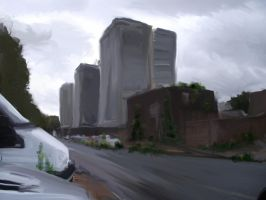 Chatham tower blocks digital painting by woodb015