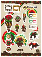 Africana Sticker set - bg 034 by forkiu