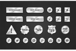 Free PSD Metal Web Buttons by Designslots
