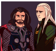 Thorin and Thranduil/ Thor crossover by sibandit