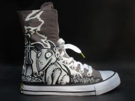Frankenweenie Handpainted Hi Top Shoes Sparky by rachelliles352