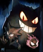 Pokemon - Ghastly, Haunter and Gengar