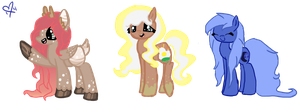 Contest entry- Sugar Cherry, Sunny-Side Up, Moony by Lazerkitties