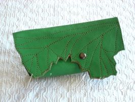 Green Leaf Small Leather Pouch by izasartshop