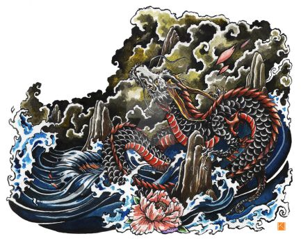 Chinese dragon tattoo design by Kaos-Nest