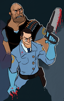 BLU Medic and Heavy by backfromthesun