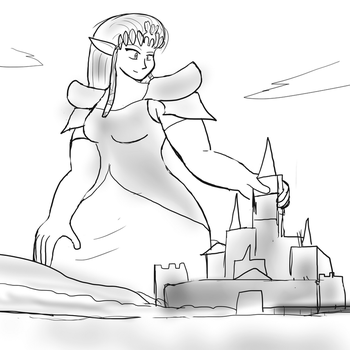 Zelda as giantess by Feyzer