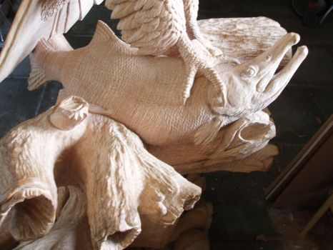 Woodcarver Eagle with salmon in progress 20 by woodcarve