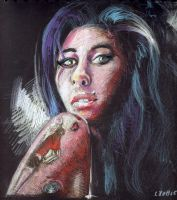 Amy Winehouse 2 (coloured pencils) by Joshua-Mozes