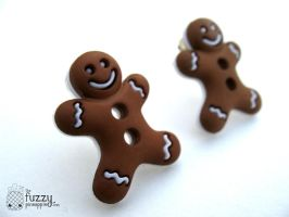 Gingerbread Men Stud Earrings by TheFuzzyPineapple