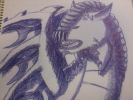 Pen Drawing - MH Rathalos by WigglyWolf