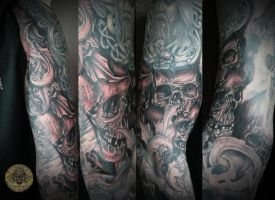 skull horror viking military armsleeve in prog. by 2Face-Tattoo