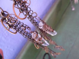 large steampunk crystal earrings by luzilla