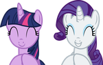 Twilight Sparkle and Rarity Vector - Clapping by CyanLightning