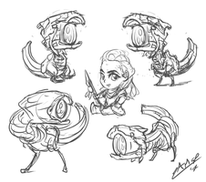 Horizon Watcher Chibi Sketches by AssasinMonkey