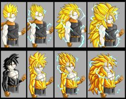 Super Saiyan and True Saiyan  Forms by DragonBallMKRPG