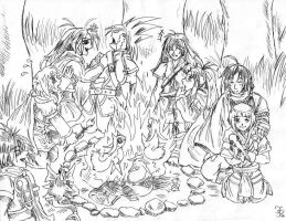 GS Line art - Campfire by Miyukitty