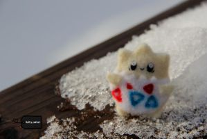 Needle felted Togepi by FluffyParcel