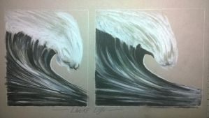 Wave in charcoal and pencil - Free download by Linekelijn