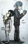 Noodle and 2D - Kiryu and Majima - full body by Fil101