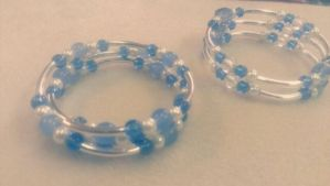 Blue Glass And White Pearl Bracelets by Rini-Dragoone