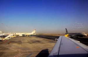 Abu Dhabi airport from plane by amirajuli
