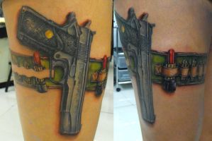 colt 45 tattoo 2nd. session by ODIETATTOO