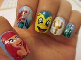 The Little Mermaid nails by henzy89