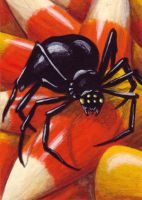 Candy Corn Spider ATC by TabLynn