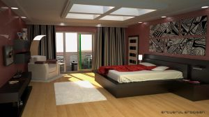 Red Modern Bedroom by avasilivich