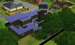 Sims 3 Modern black house by RamboRocky