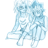 YGO-Malik+Yuugi-Sketch 8Oct08 by gyakuten-no-megami
