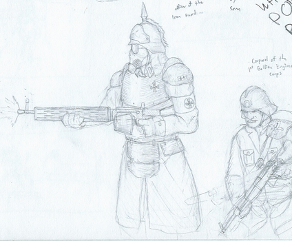 Prussian and 'French' soldier sketch by BrenZan