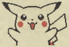 Pikachu from Pokemon Yellow cross stitch by Lil-Samuu