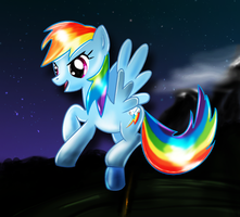 Flying Rainbow Dash by Ilona-the-Sinister