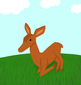 Deer lying on grass by Creamrs