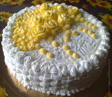 Yellow Roses Cake_Torta Rose Gialle by Cathematics