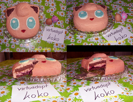 Jigglypuff Black Forest gateau by little-koko