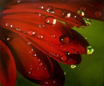 Red water drops by Li-Soro