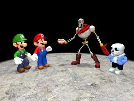 mario and luigi meet papyrus and sans by sonic3245