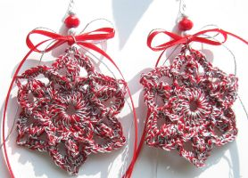 Christmas ornaments, crochet, red and silver by doilydeas